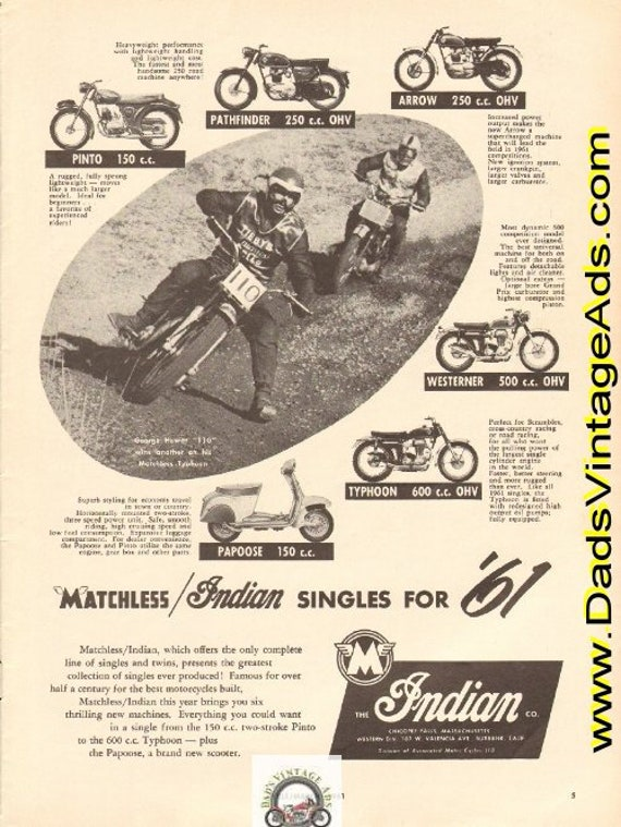 1961 Matchless / Indian Singles for '61 Ad #e61ca06
