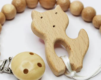 Wooden Toy Pacifier Clip wooden teether toy fox baby toy clips teething cute toy Babyshower gift