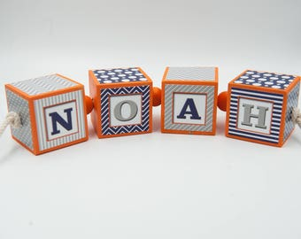 Baby Shower Gift, Custom Name Blocks, Name Blocks, Nursery Blocks, Nursery Decor, Personalized Blocks, Blue& Gray, Orange, Newborn Gift,