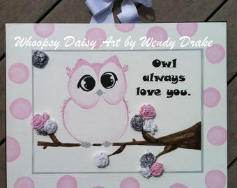 Pink owl nursery art, Owl nursery canvas art, Owl decor Owl Always Love You, Pink owl for nursery, girl owl gift, Pink baby shower gift