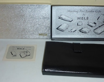 Vintage Women's Black Leather Wallet in Original Box made by Mele