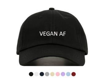 Vegan AF Embroidered Dad Cap, Unstructured Low-Profile Baseball Hat, Adjustable Strap Back, One Size (Multiple Colors)