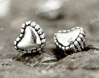 """Set of 10 beads """"Young hearts Ciseles"""" Tibetan silver 6x5mm"""
