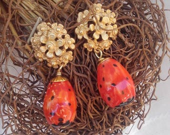 earrings with prickly pear fruits
