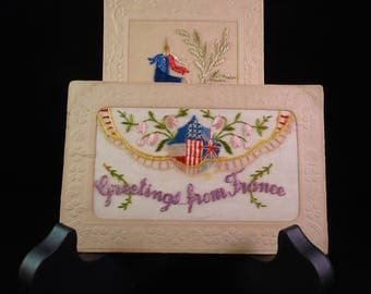 vintage postcards silk embroidered WWI French flag France American British