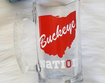 Buckeye Nation Beer Mug, Buckeye Beer Mug, Buckeye Mug, Buckeye Gift, Ohio State Beer Mug, Ohio State Beer Gift, Ohio State Gift, OSU Mug