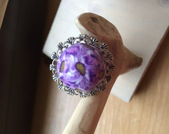MULTICOLORED POLYMER CLAY CABOCHON RING