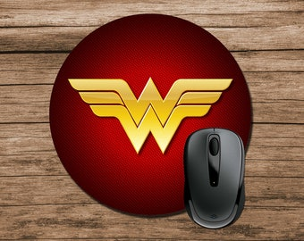 Superhero Mouse Pad, Wonder Woman Mouse Pad, Round Mouse Pad, Office Gift, Co-Worker Gift, Boss Gift, Student Gift