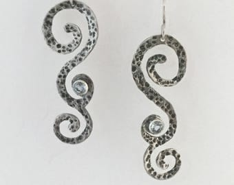 Hammered, Swirl and Topaz, Sterling Silver Dangle Earrings