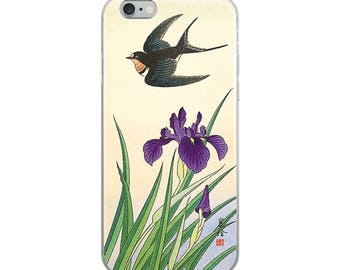 Japanese bird iPhone case, Asian woodblock print, great for bird lovers, flower lovers, and nature lovers!
