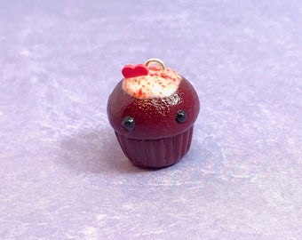 Red Velvet Polymer Clay Cupcake Charm - backpack, purse, keychain, planner