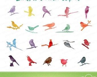 Bird Silhouette Watercolor Clip Art