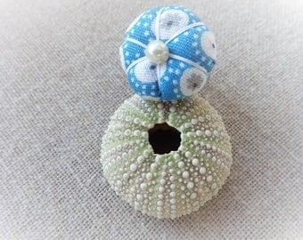 Ring flower blue Japanese flower green pumpkin patterned fabric