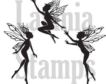 Lavinia Three Dancing Fairies Stamp - Dancing Fairies Stamp - Clear Cling Stamp - Three Fairies Cling Stamp - Dancing Fairies Set 12-053