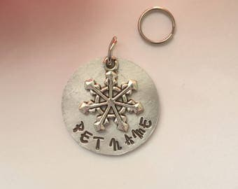 Pet ID Tag with Snowflake.