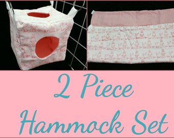 2 Piece Hammock Set Perfect for Rats, Chinchillas, Ferrets, and Sugar Gliders