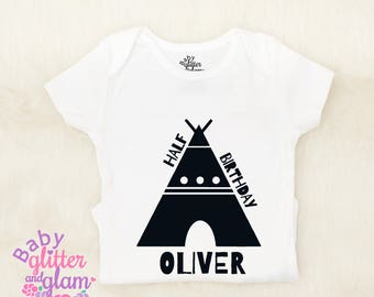 Half Birthday Boy, Half Birthday Boy Outfit, Half Way to One Boy, Baby Boy Clothes, Half Birthday Boy Trendy, Half Bday Boy