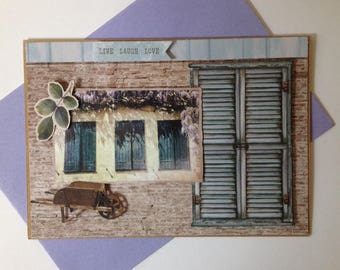 Birthday card, woman, lined, handmade, 3D, lavender, provence, but