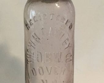 Antique W.H. Cawley Co Dover N.J. Hutchinson Glass Bottle