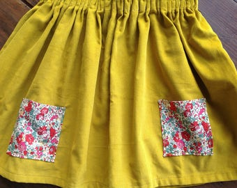 Mustard yellow velvet pockets liberty skirt