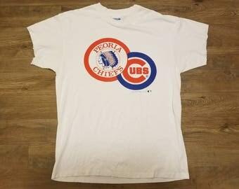 Vintage XL Chicago cubs shirt, Peoria Chiefs shirt, vintage hanes shirt,80s shirt tee, vintage cubs shirt