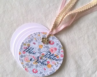 Gray and pink liberty round pocket notebook + charm + gift bag