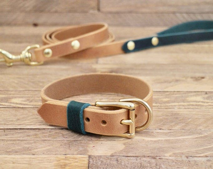 Dog collar, Dog leash, Whiskey, Forest colour, Brass hardware, FREE ID TAG, Collar and leash set, Handmade leather collar, Leather leash.