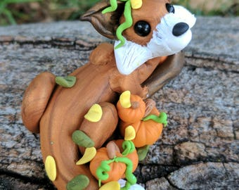 Copper Autumn Fox - Polymer Clay Sculpture