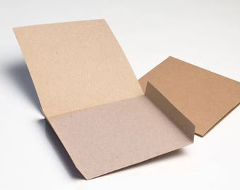100 Brown Recycled Kraft Card CD DVD Sleeve/Wallet/Cover Unbranded/Blank (Flat)