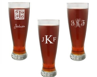 Personalized Beer Glass - Customized Pilsner Glass - Monogram Tall Beer Glass - Best Man Present - Groomsmen Gift - Gift for Him - Barware