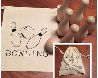 Bowling Set - Wooden - Travel
