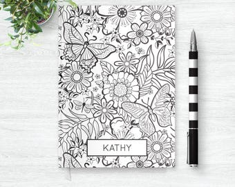 Coloring Journal, Floral Notebook, Adult Coloring Book, Flower Notebook, Color Me in Floral Journal, Color Your Own Hardcover Notebook
