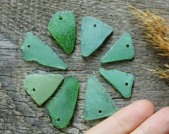 8 genuine sea glass triangle jewelry findings bohemian findings earing findings necklace findings jewelry accessories green pendants