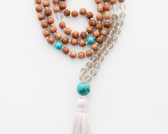 Labradorite & Turquoise Mala, Rosewood, Quartz, Wind element, manifestation, gemstone mala, healing crystals, yoga jewelry, meditation beads