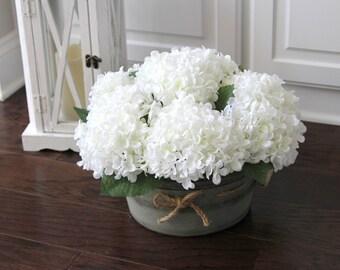 Farmhouse Decor, Farmhouse Rustic Arrangement, Hydrangea Centerpiece, Summer Centerpiece, White Hydrangeas in a Galvanized Container