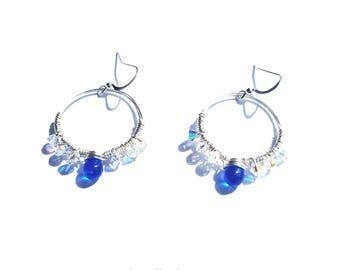 Hoop earrings - Crystal Hoop earrings - Silver Hoop earrings - Available as Sterling Silver earrings