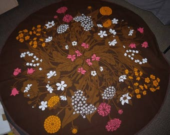 Almedahls -RoundTable Cloth -Brown - Flower - Retro - Sweden - Design - Mid Century -
