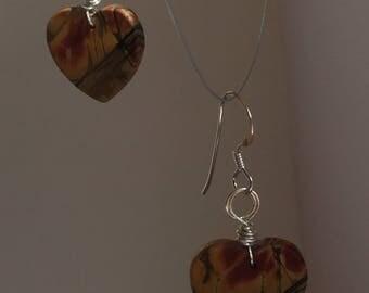 Picture jasper heart shaped earrings