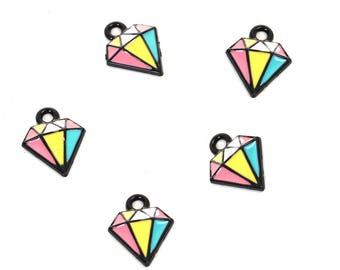5 Black Mosaic Multicolored Enameled Diamond Charms 15x12mm (B259e)