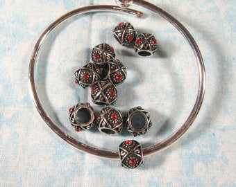 10 Antique Silver Euro Style Charm Beads w/ Red Rhinestones (B492q)
