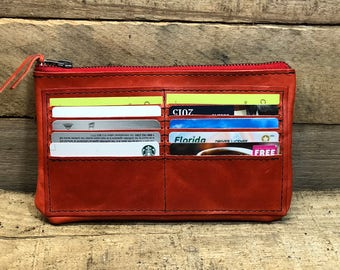 Handmade Leather Wallet, Red Leather Wallet, Handmade Woman's Wallet, 10 Card Leather Wallet, Woman's Leather Wallet, Wallet Organizer