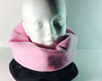snood or neck for woman Grey Heather and pink
