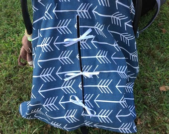 Arrows Infant Carrier Cover Boy  Navy Car Seat Canopy Birthday Party Newborn Travel Nursery Rain Cover Carrier Gift