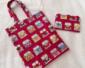 Childrens fabric tote with matching coin purse.