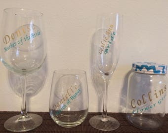 Wedding Party Wine Glasses, Wedding Planning Wine Glass, Engaged Wine Glass, Personalized Wine Glass, Fun Wine Glass, Custom Wine Glass