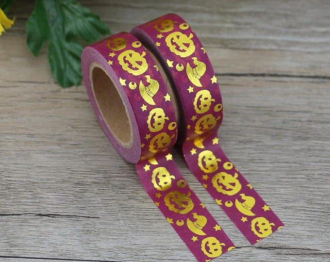 Gold Foil Washi Tape - Halloween Pumpkin Washi Tape - Halloween washi Tape - Paper Tape - Planner Washi Tape - Washi - Decorative Tape