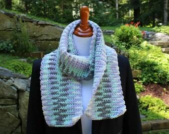 Multicolor Ribbed Scarf, Crochet Scarf, Neckwarmer, Short Scarf