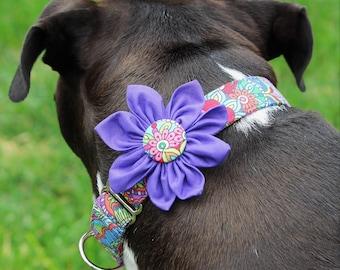 Purple dog collar, flower dog collar, thick dog collar, wide martingale dog collar, thick dog collar, extra large dog collar, girl collar