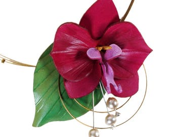 Necklace fuchsia Orchid and pearl beads