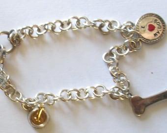 Charm Bracelet Dog theme sterling 925 vintage